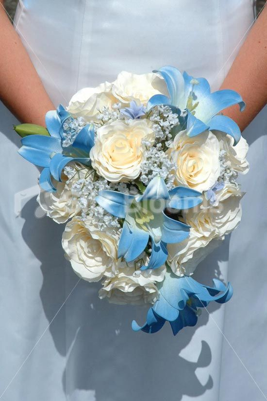 Lovely Vintage Ivory Rose Bridal Bouquet with Aqua Easter Lilies ...