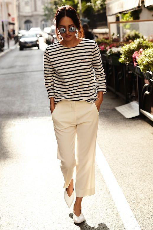 Le Fashion Blog Parisian Style Low Bun Mirrored Round Sunglasses Striped Long Sleeve Shirt Cropped Cream Pants White Pointed Celine Flats Via Gary Pepper Photo by lefashion   Photobucket