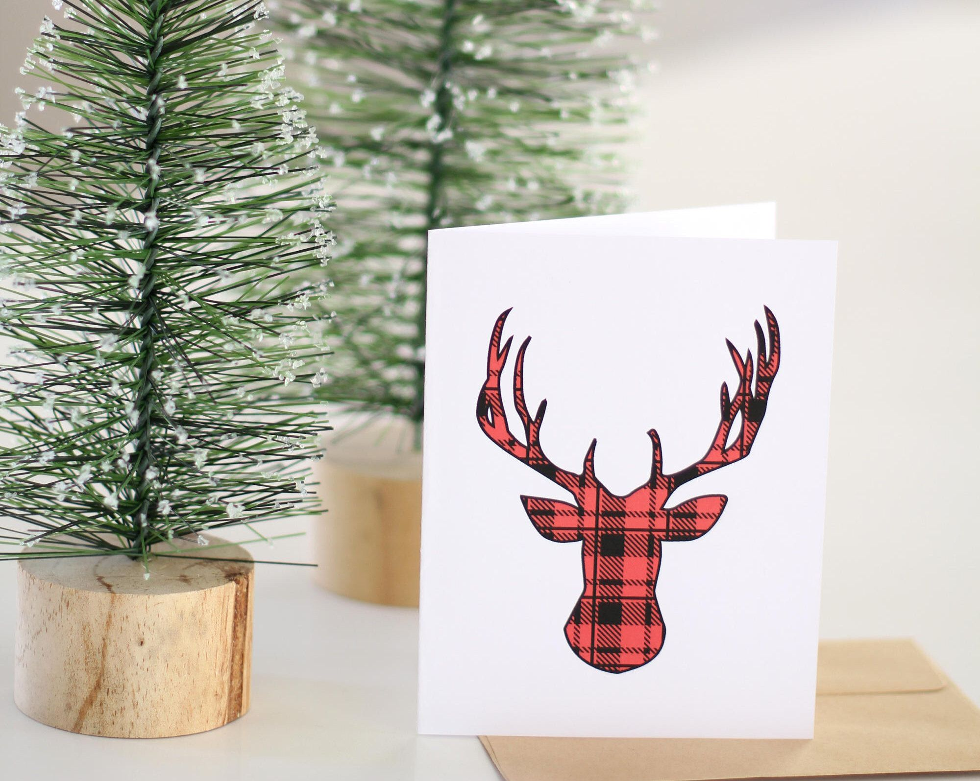 Red Plaid Deer Card, Non religious Holiday Card, Christmas Card ...