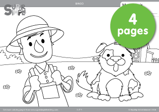 Free Downloadable Bingo Coloring Pages From The Popular Video By Super Simple Songs Atividades Atividades De Ingles Educativo
