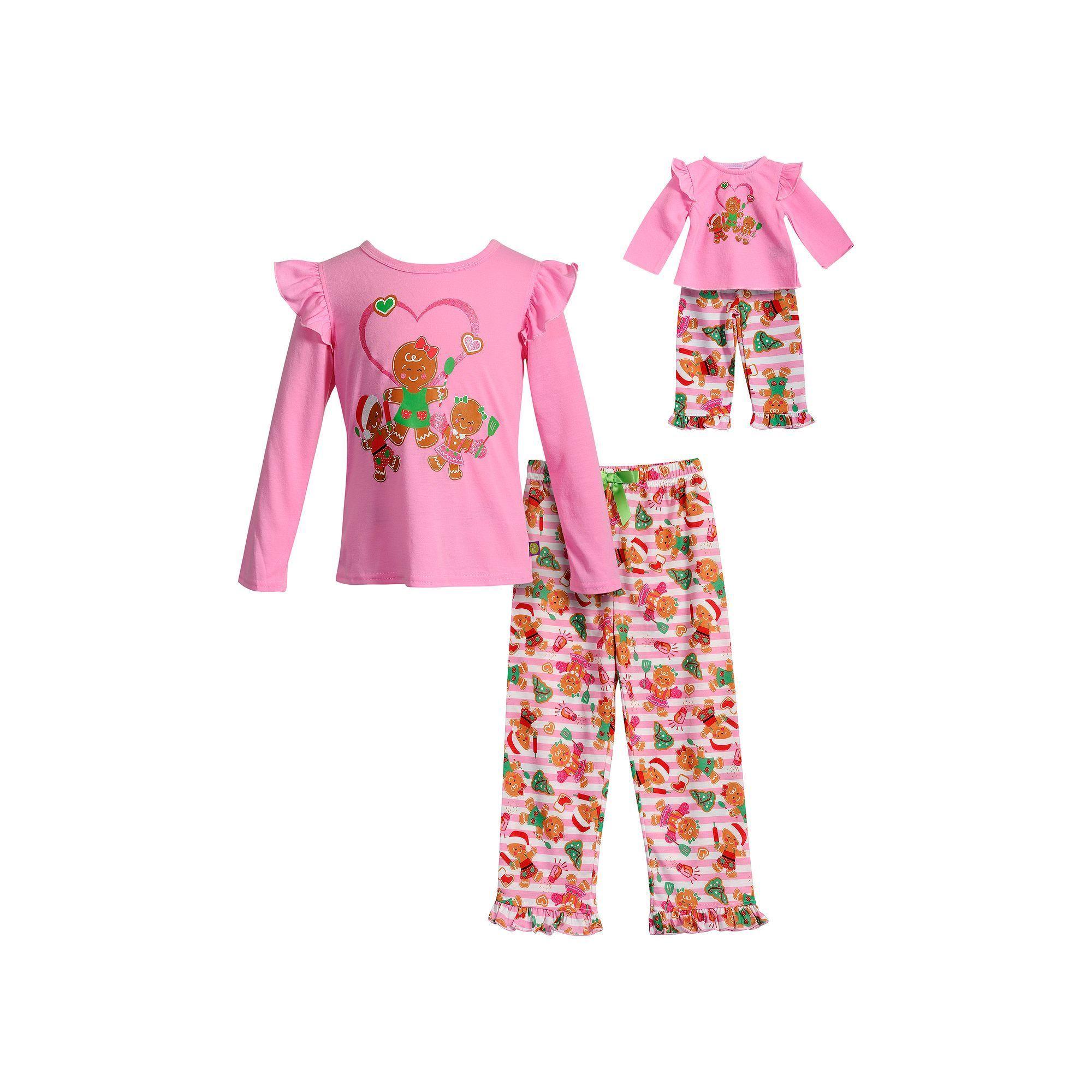 Girls 4-14 Dollie   Me Gingerbread Cookie Ruffled Top   Bottoms Pajama Set ba1e455d2