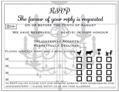 Sit down plated dinner RSVP cardscan you post some pics of – Free Rsvp Card Template