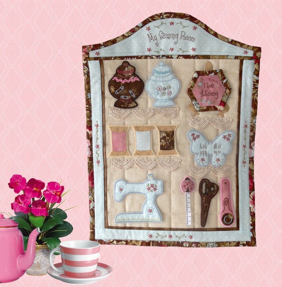 Girls young and young-at-heart will just love this gorgeous My Sewing Room wall-hanging.  All the elements are removable so it is ideal for a child's pretend play. BUT, why should the children have all the fun! Make one for yourself or for a friend! Val Laird Designs