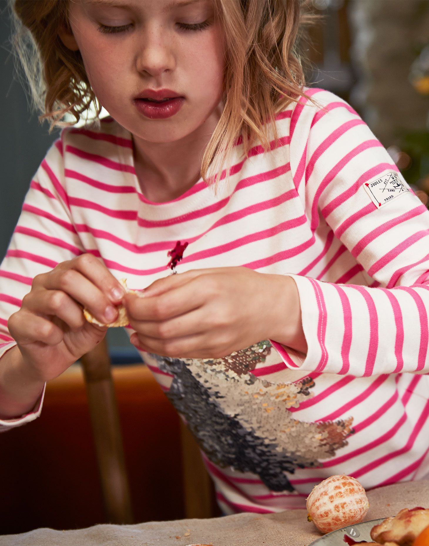 Joules Girls Harbour Luxe Jersey Top Shirt in PINK STRIPE TREE