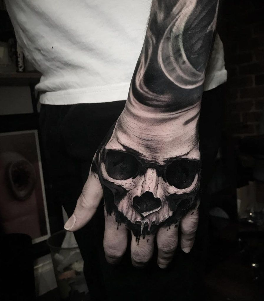 Wouldn T Get A Skull But That Is An Amazing Tattoo The Detail In Such A Small Part Of The Body Is Amazin Skull Hand Tattoo Hand Tattoos For Guys Skull Tattoo