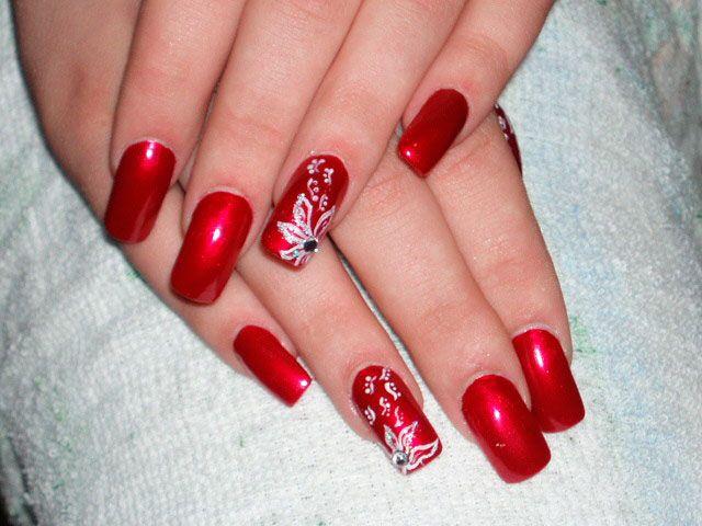 20 Diseños de Uñas de Color Rojo con Flores - ε Diseños de Uñas ...