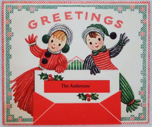#46 50s Happy Yarn Doll Couple, Vintage Christmas Card-Greeting in Collectibles, Paper, Vintage Greeting Cards, Christmas | eBay