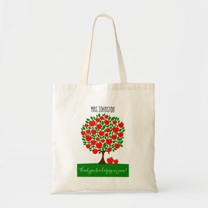 Red apple tree for teacher thank you quote Tote Bag