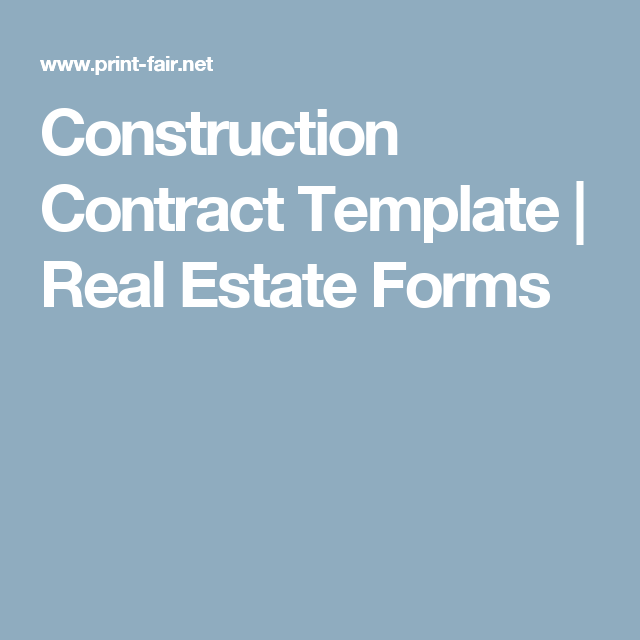 Construction Contract Template  Real Estate Forms  Construction