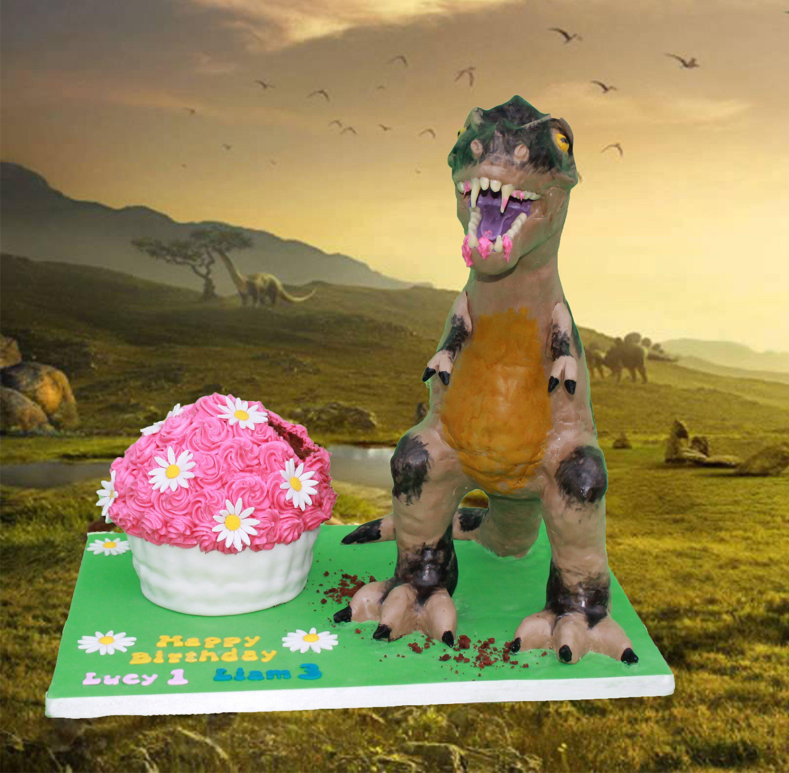 18 inch dinosaur eating giant cupcake