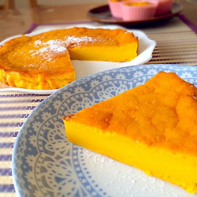かぼちゃを沢山頂いたので、かぼちゃケーキにしました♫よく冷やして、かぼちゃプリン風に食べました♡˚₊*୧⃛(๑⃙⃘⁼̴̀꒳⁼̴́๑⃙⃘)୨⃛*₊ - 56件のもぐもぐ - かぼちゃケーキ♡粉糖あり by miyu