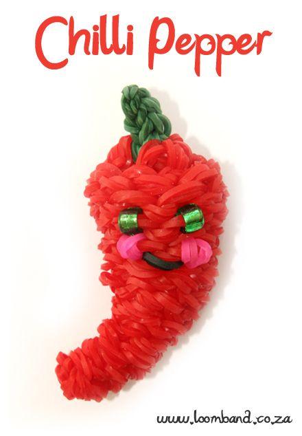3D Happy Chili Pepper loom band tutorial