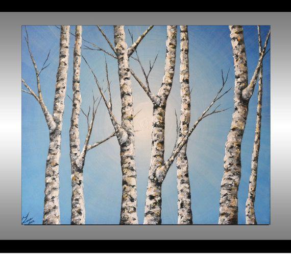 original fine art textured birch trees painting aspen tree blue landscape home decor 30x24