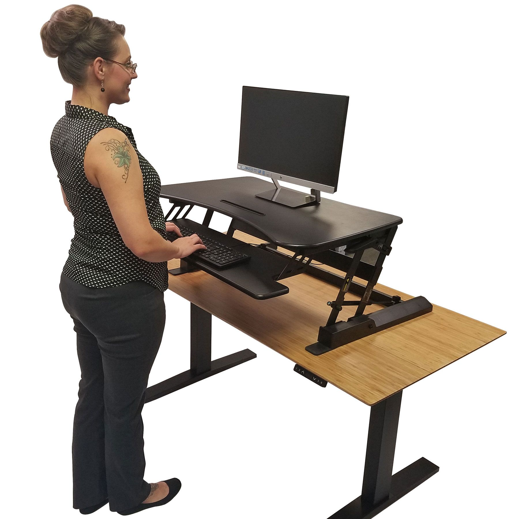 Double Wide Adjustable Height Easy Pull Home Office Desk