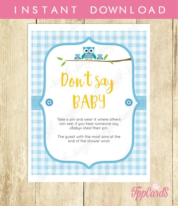 Baby Shower Clothes Pin Game Don't Say Baby Game Baby Shower Games Printable Owl Baby Shower