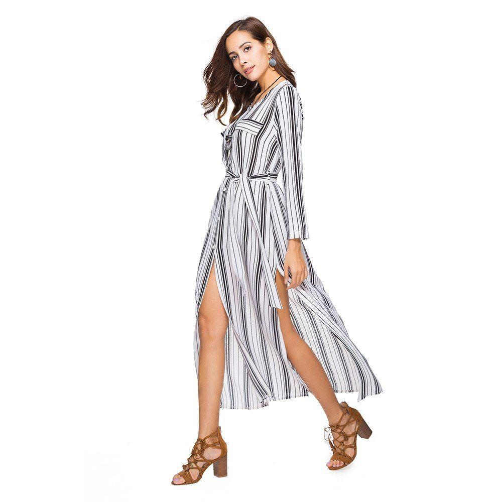Women t shirt dress striped long sleeve buttons split belted elegant