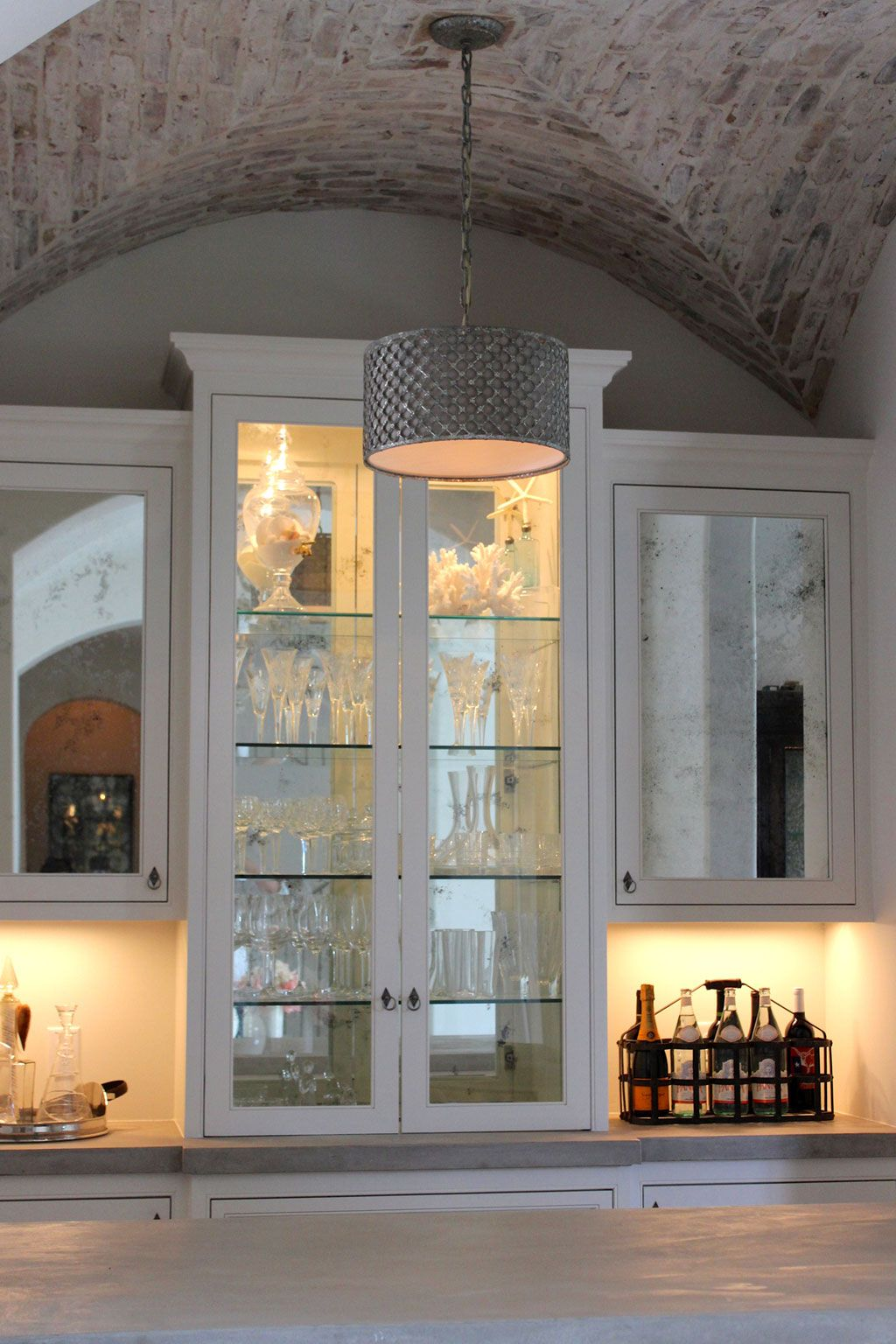 Greyton Lane An Antique Mirror Backsplash Frames The Bar Area