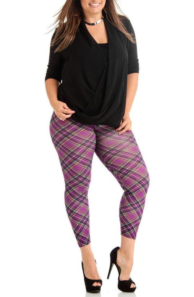 Women's Plus Size Violet Patch Plaid Leggings