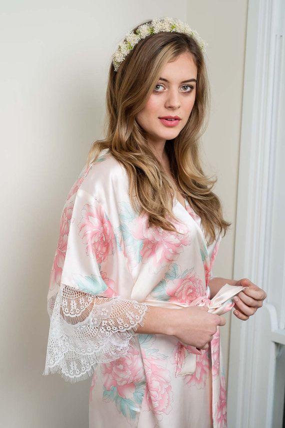 Lucia Silk & Lace Kimono Robe | Bridesmaid Robe | Bridal Robe | Made ...