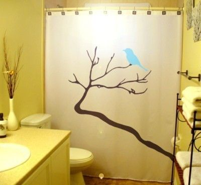 Blue Bird Shower Curtain Tree Bathroom Decor Kids Bath Branch Bluebirds Winter Deer Head Antlers Can Be Any Color