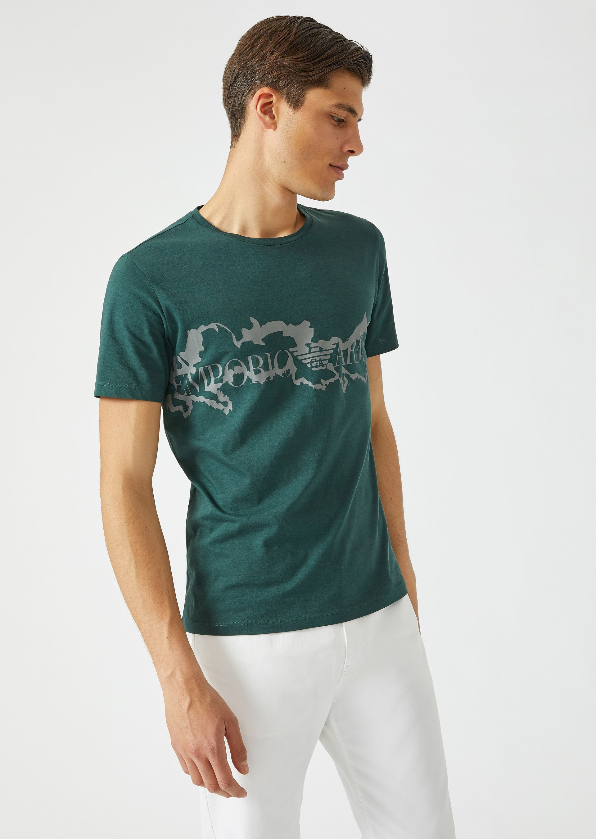 c0d314db Emporio Armani T-Shirt In Lightweight Cotton Jersey With Contrasting Logo  Print - Forest Green Xxl