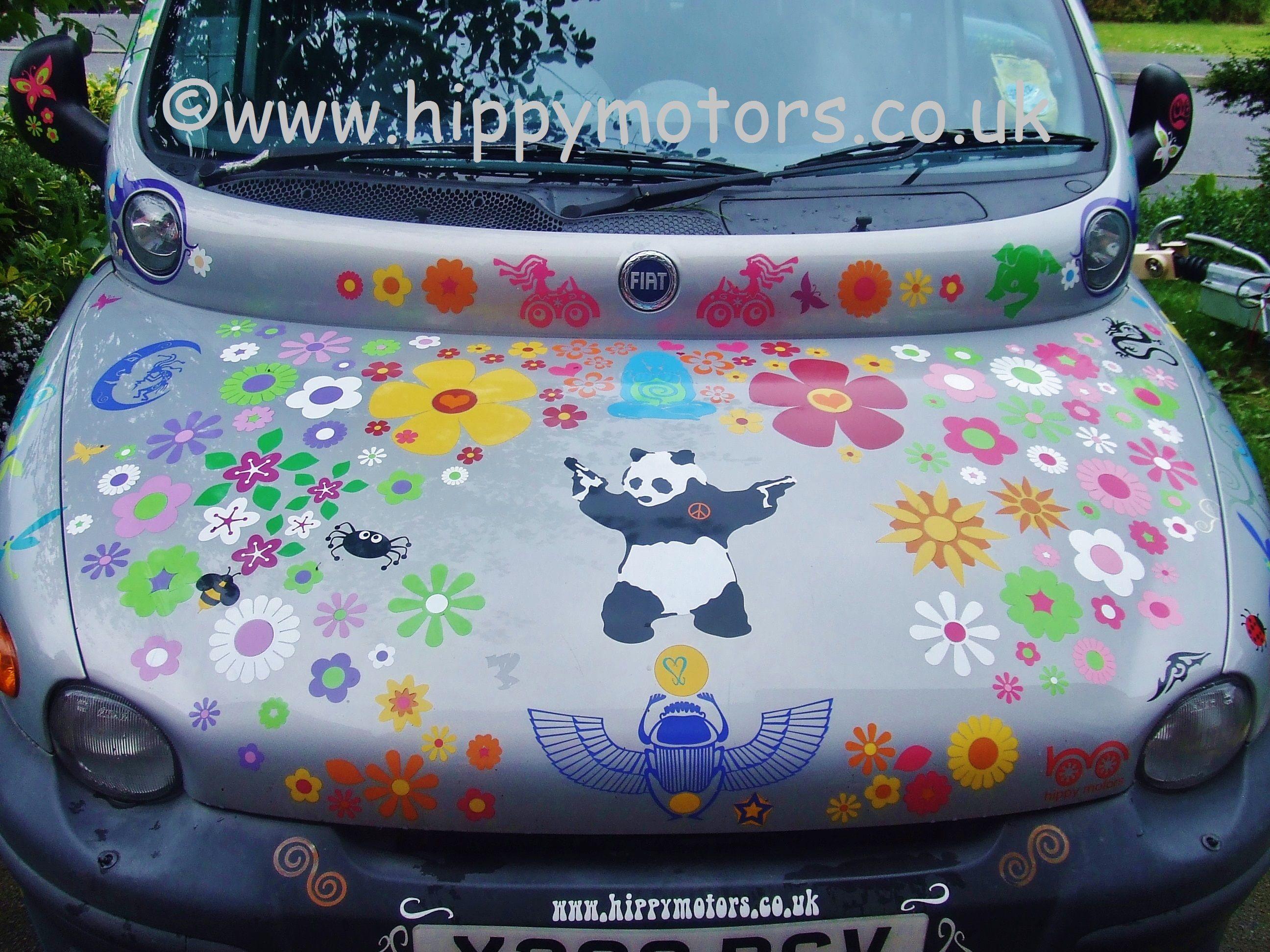 Hippy Flowery Fiat Multipla Car Stickers Funny Bumper Stickers Car Stickers Vinyl Car Stickers [ 1944 x 2592 Pixel ]