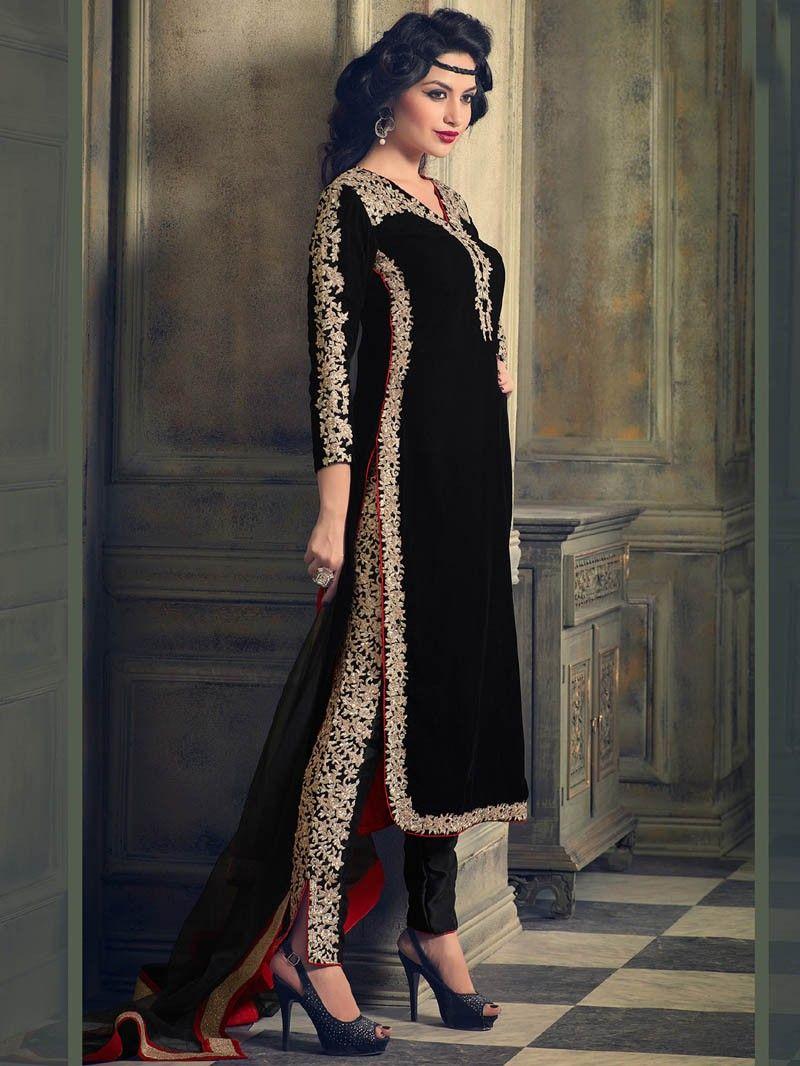 Black color velvet embroidered straight salwar kameez projects to