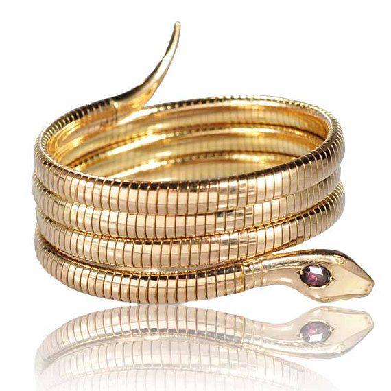 Victorian Kollmar Jourdan Snake Bracelet Gold Filled Coil Wrap