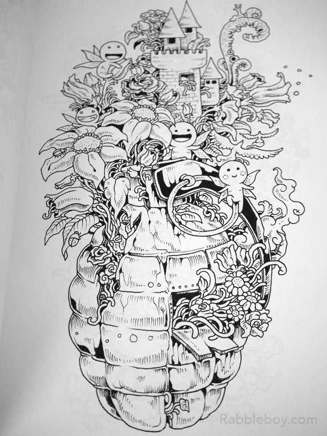 Find This Pin And More On Doodle Invasion A Crazy Coloring Book By Kerby Rosanes Rabbleboy