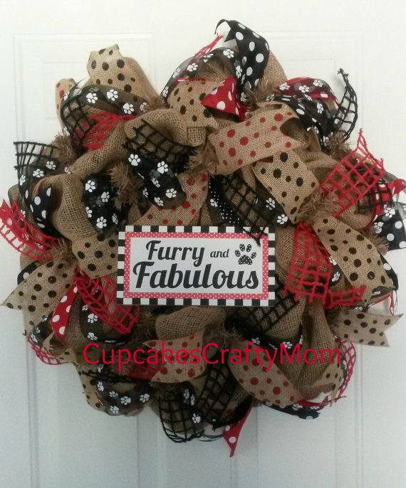 Crafts For Dog Lovers: Burlap Wreath Animal Lovers Wreath Pet Lovers By