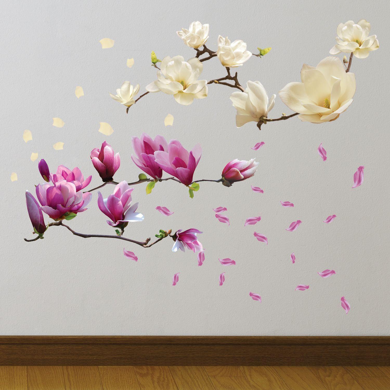 Walplus Wall Sticker White Magnolia Flower Art DIY Art Home Decorations Bedroom
