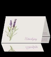 Sierlijke trouwkaart met lavendel