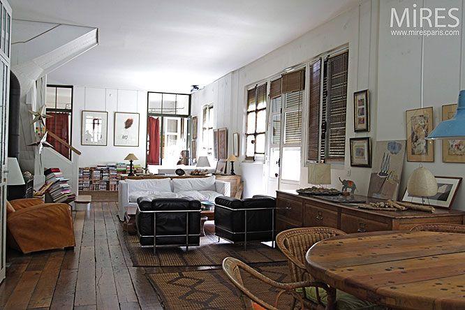 92, maison, salon, bohême, poële, plancher, parquet, salle à manger - Salle A Manger Parquet
