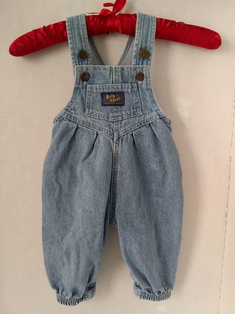7a8502405 Vtg Baby Girl Oshkosh Bib Overalls Vestbak Romper Blue Denim Elastic 12 MO  ? #Oshkosh #DenimBibOveralls #Everyday