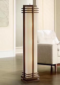 Possini euro design deco style walnut column floor lamp for the a warm walnut wood finish and creamy linen shade merge in this impressive column floor lamp inspired by art deco style lighting aloadofball Images