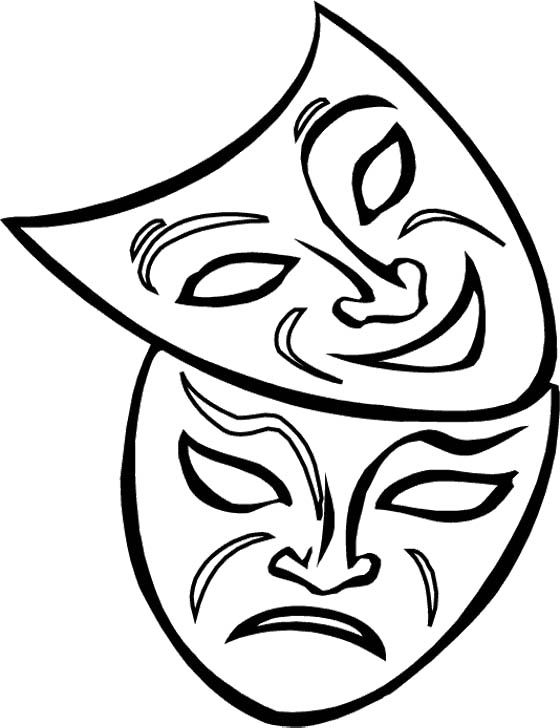 Two Mask Mardi Gras Coloring Pages For Kids | Kids Coloring Pages ...