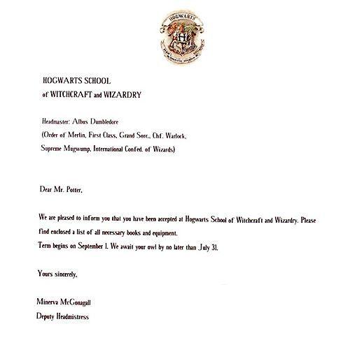 Write A Harry Potter Acceptance Letter  Hogwarts Letter Hogwarts