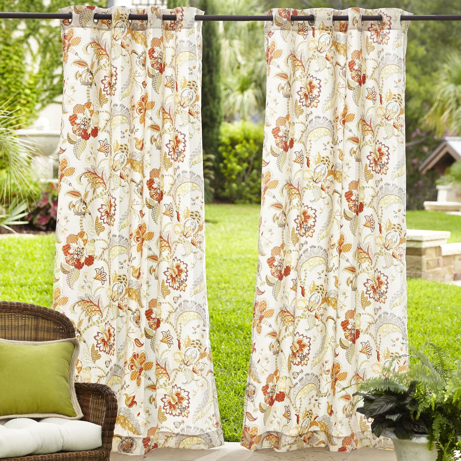 Eva Floral Outdoor Curtain | Pier 1 Imports