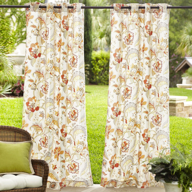 Eva Floral Outdoor Curtain   Pier 1 Imports