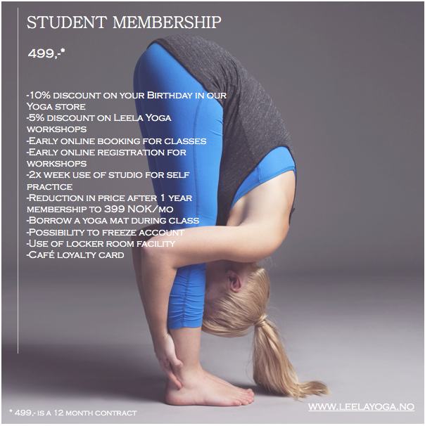Student unlimited monthly membership Yoga