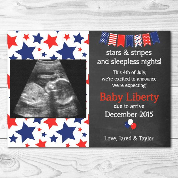 Fourth of July Pregnancy Announcement Card by EensyAva on Etsy – Baby Announcement Cards Etsy