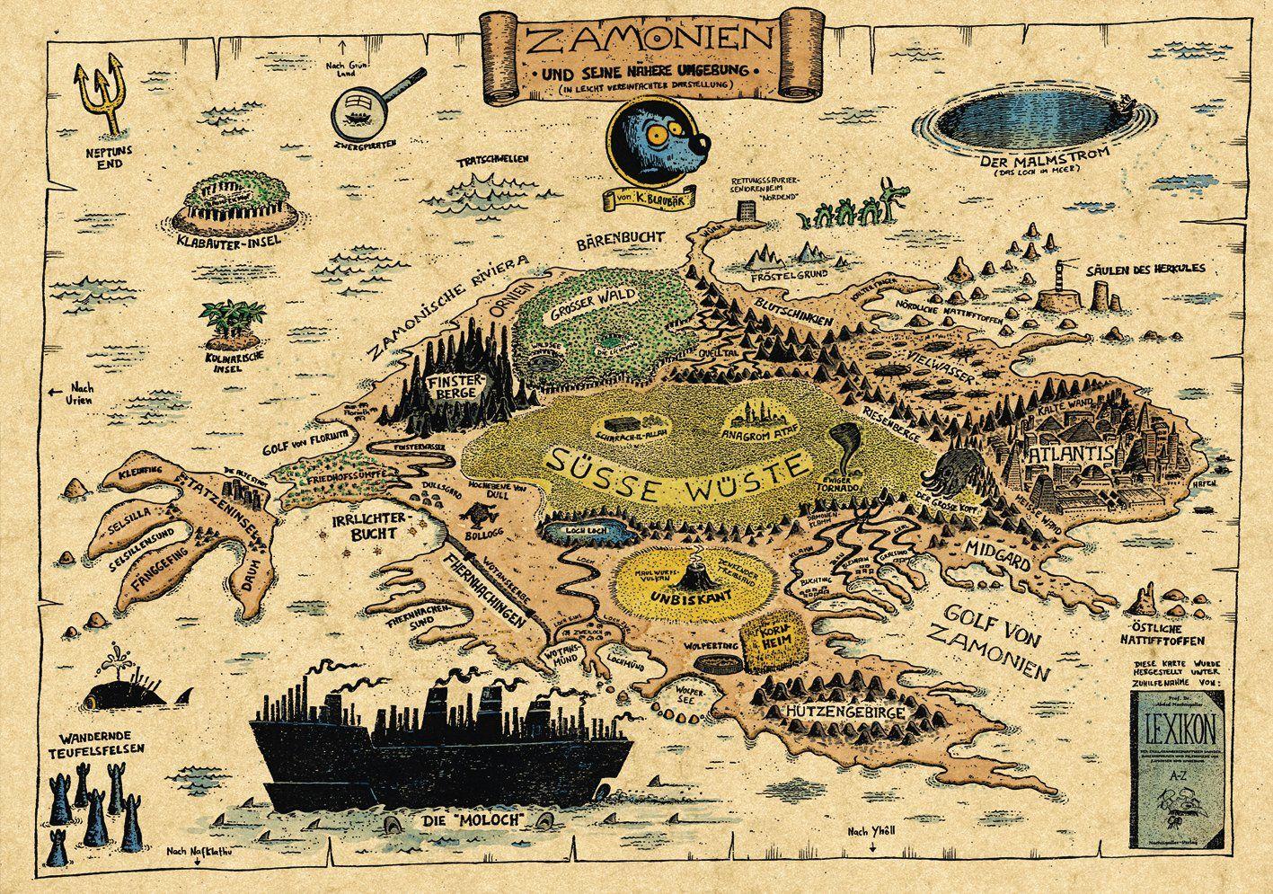zamonien karte Zamonien — Walter Moers | Fanart | Imaginary maps, Maps video, Map