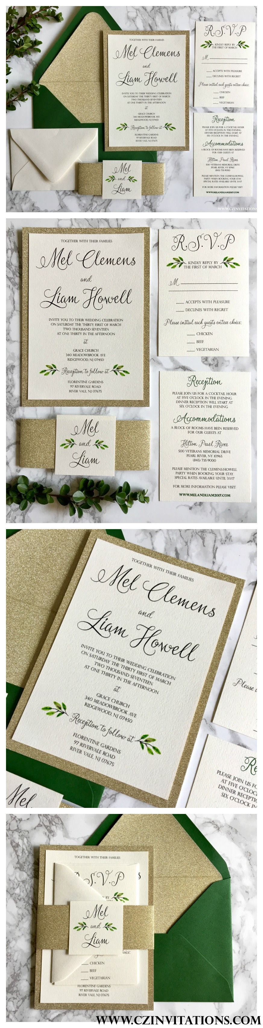 The 2017 trend for wedding invitations is Greenery. We LOVE this ...