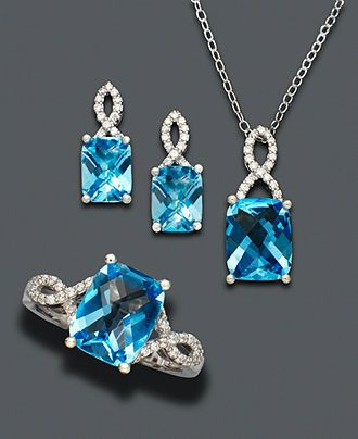 b2fe595c6 Sterling Silver Jewelry Set, Blue Topaz (7-1/2 ct. t.w.) and White Topaz  Accent Jewelry Set - Necklaces - Jewelry & Watches - Macy's  #MacysFavoriteThings