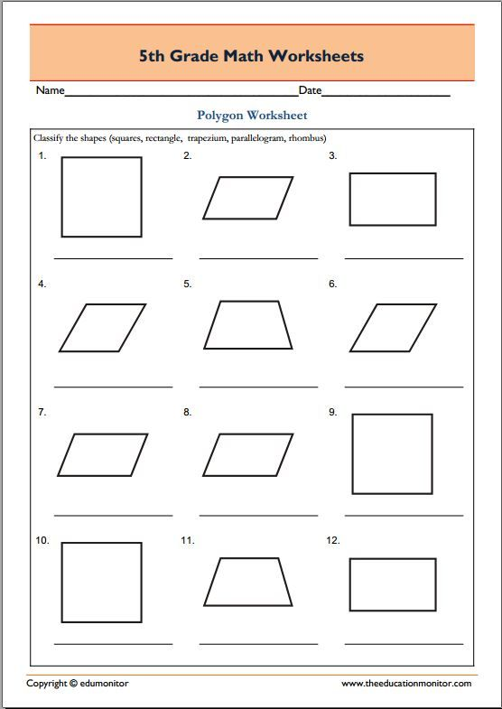 5th Grade Geometry Math Worksheets Polygons Geometry Worksheets Math Practice Worksheets 5th Grade Worksheets