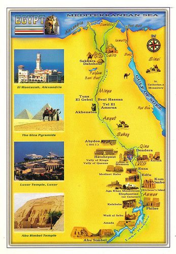 Egypt map postcard Tourist site Beautiful places and Lakes