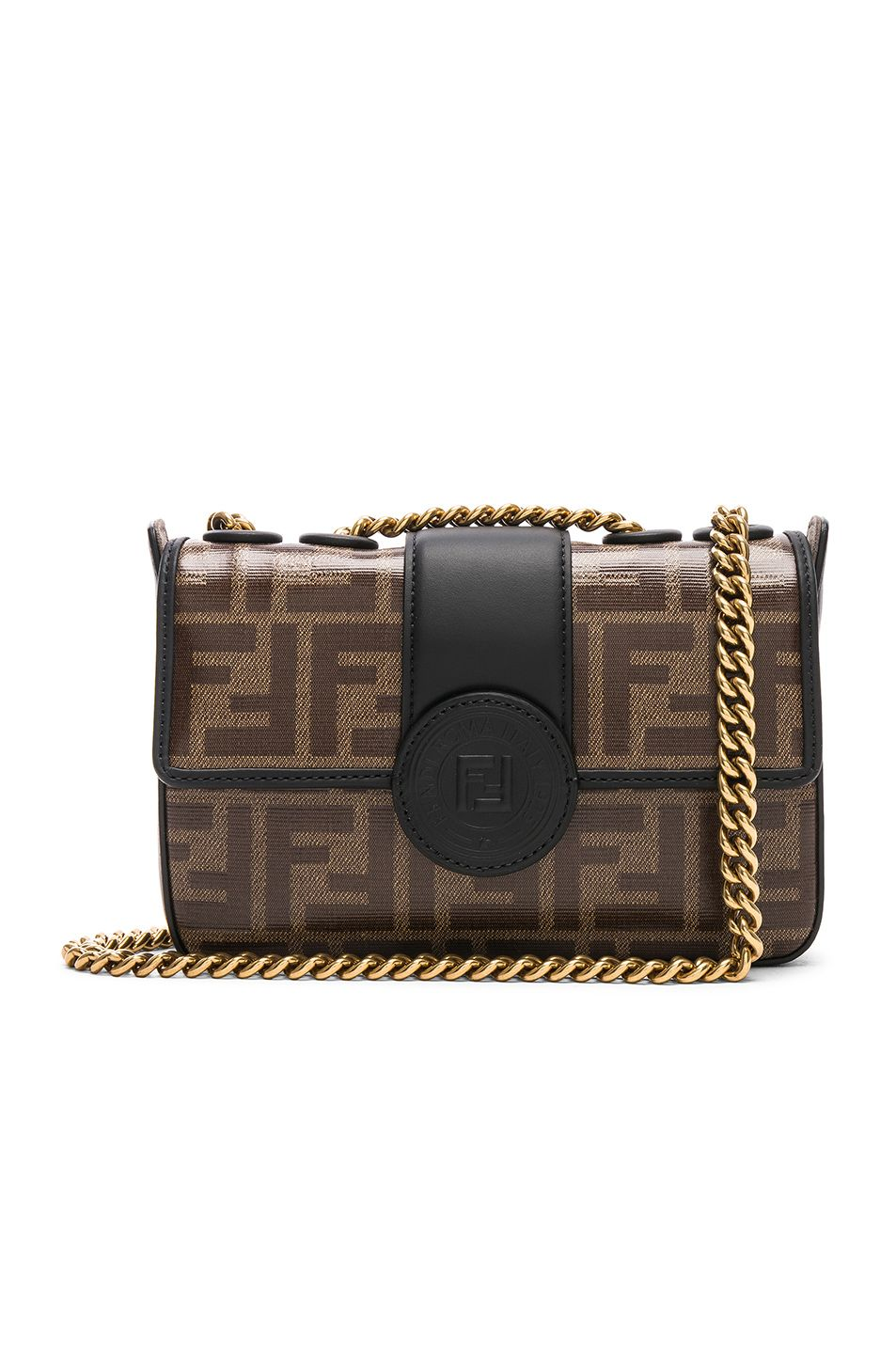 Image 1 of Fendi Mini Logo Print Double F in Brown   Black  5f8298c918f10