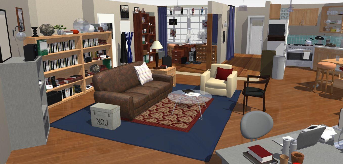 The Big Bang Theory Apartment In 3d Sheldon And Leonard Famous  # Muebles Big Bang Theory