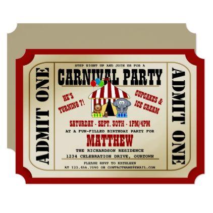 circus carnival birthday party invitations - Carnival Birthday Party Invitations