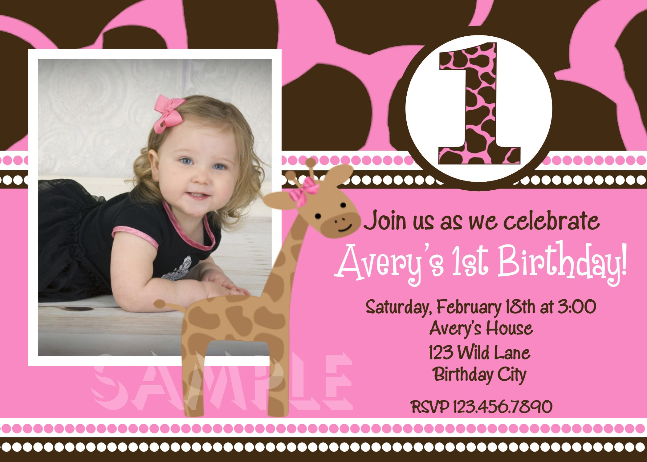 Pink Giraffe First Birthday Party Invitation | Pink giraffe, Party ...